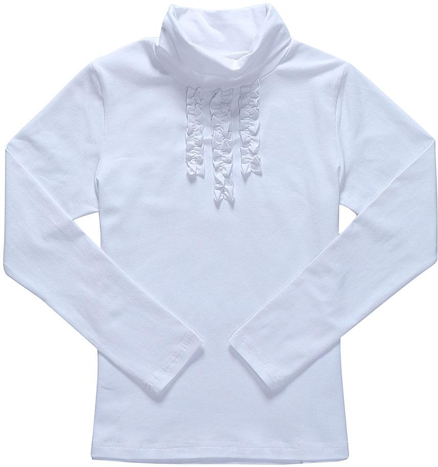 Водолазка для девочки Luminoso, цвет: белый. 728123. Размер 146728123Водолазка для девочки Luminoso выполнена из хлопка с добавлением эластана. Модель имеет длинные рукава и воротник-стойку. На груди водолазка дополнена рюшами.