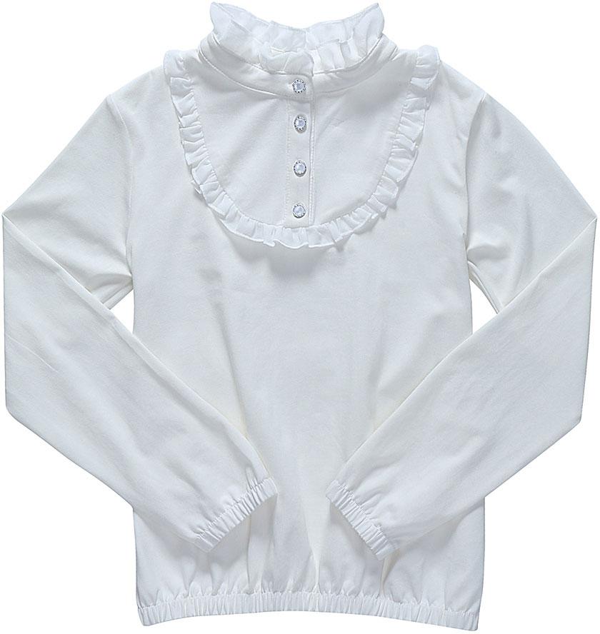 Блузка для девочки Luminoso, цвет: молочный. 728124. Размер 122728124Детская блузка Luminoso выполнена из хлопка с добавлением эластана. Модель имеет длинные рукава и воротник-стойку с рюшами. Манжеты рукавов и низ блузки дополнены эластичной резинкой. Грудка украшена рюшами и декоративными пуговицами.