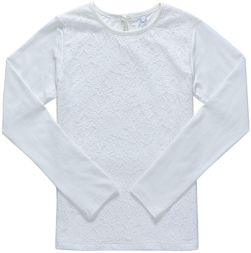 Блузка для девочки Luminoso, цвет: молочный. 728142. Размер 122728142Детская блузка Luminoso выполнена из хлопка с добавлением эластана. Модель имеет длинные рукава и круглый вырез горловины. Сзади вырез капелька и застежка на пуговицу. Блузка спереди дополнена кружевом.