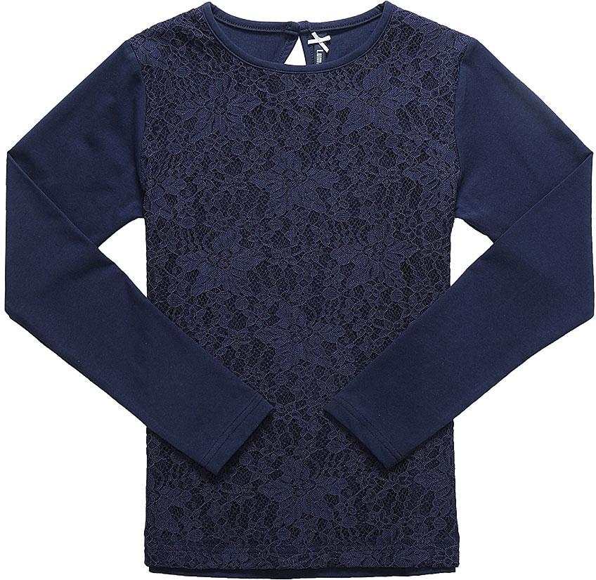 Блузка для девочки Luminoso, цвет: темно-синий. 728143. Размер 140728143Детская блузка Luminoso выполнена из хлопка с добавлением эластана. Модель имеет длинные рукава и круглый вырез горловины. Сзади вырез капелька и застежка на пуговицу. Блузка спереди дополнена кружевом.