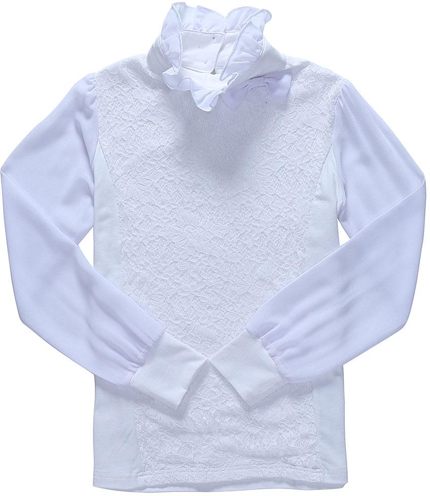 Блузка для девочки Luminoso, цвет: белый. 728162. Размер 146728162Детская блузка Luminoso выполнена из хлопка с добавлением эластана. Модель имеет длинные рукава с эластичными манжетами и воротник-стойку с рюшами. Сзади застегивается на пуговицы. Блузка украшена кружевом и бантиком.