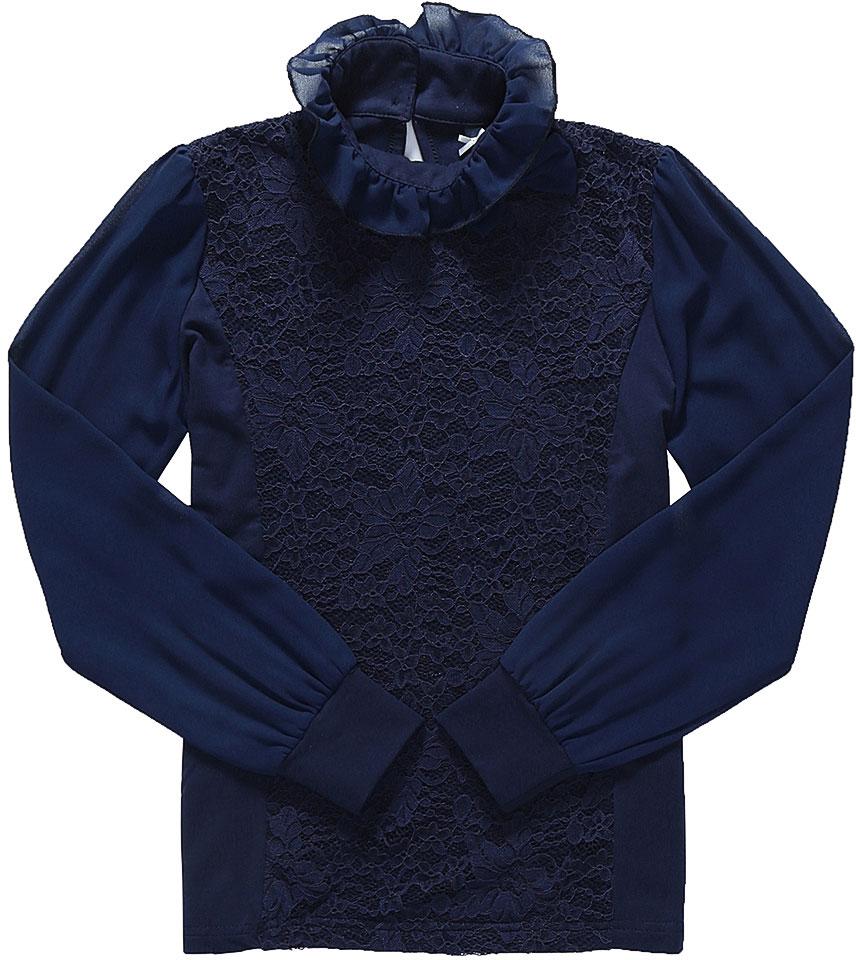 Блузка для девочки Luminoso, цвет: темно-синий. 728163. Размер 164728163Детская блузка Luminoso выполнена из хлопка с добавлением эластана. Модель имеет длинные рукава с эластичными манжетами и воротник-стойку, отделанный рюшами. Сзади вырез капелька и застежка на две пуговицы. Блузка дополнена кружевом и бантиком.