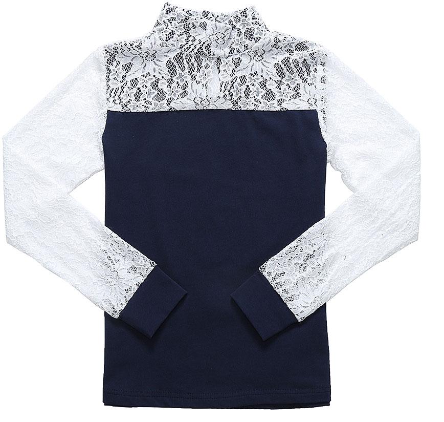 Блузка для девочки Luminoso, цвет: темно-синий, белый. 728177. Размер 146728177Детская блузка Luminoso выполнена из хлопка с добавлением эластана. Модель имеет длинные рукава с эластичными манжетами и воротник-стойку. Сзади вырез капелька и застежка на две пуговицы. Блузка дополнена кружевом.