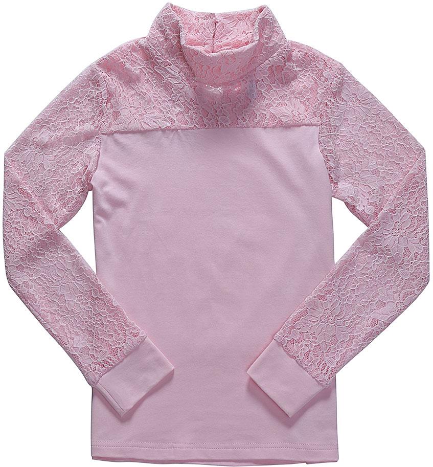 Блузка для девочки Luminoso, цвет: розовый. 728178. Размер 152728178Детская блузка Luminoso выполнена из хлопка с добавлением эластана. Модель имеет длинные рукава с эластичными манжетами и воротник-стойку. Сзади вырез капелька и застежка на две пуговицы. Блузка дополнена кружевом.