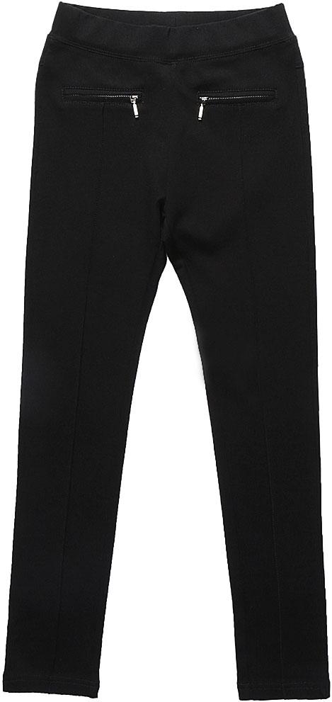 Брюки для девочки Luminoso, цвет: черный. 728227. Размер 164728227Классические брюки для девочки Luminoso выполнены из хлопка и полиэстера с добавлением эластана. Модель имеет резинку на талии для комфортной посадки и 2 кармана на молнии. Брюки спереди дополнены декоративной отстрочкой.