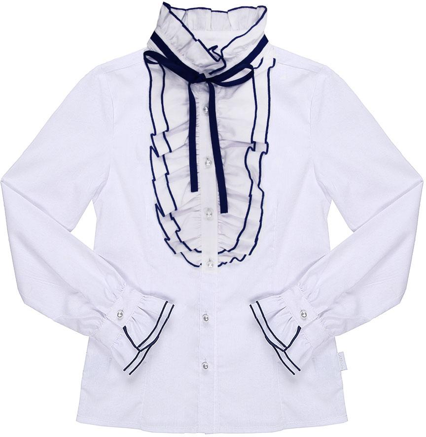 Блузка для девочки Luminoso, цвет: белый, темно-синий. 728242. Размер 128728242Классическая детская блузка Luminoso выполнена из хлопка и полиэстера с добавлением эластана. Модель имеет длинные рукава с манжетами на пуговицах и воротник-стойку, дополненный лентой и рюшами. Блузка застегивается на пуговицы.