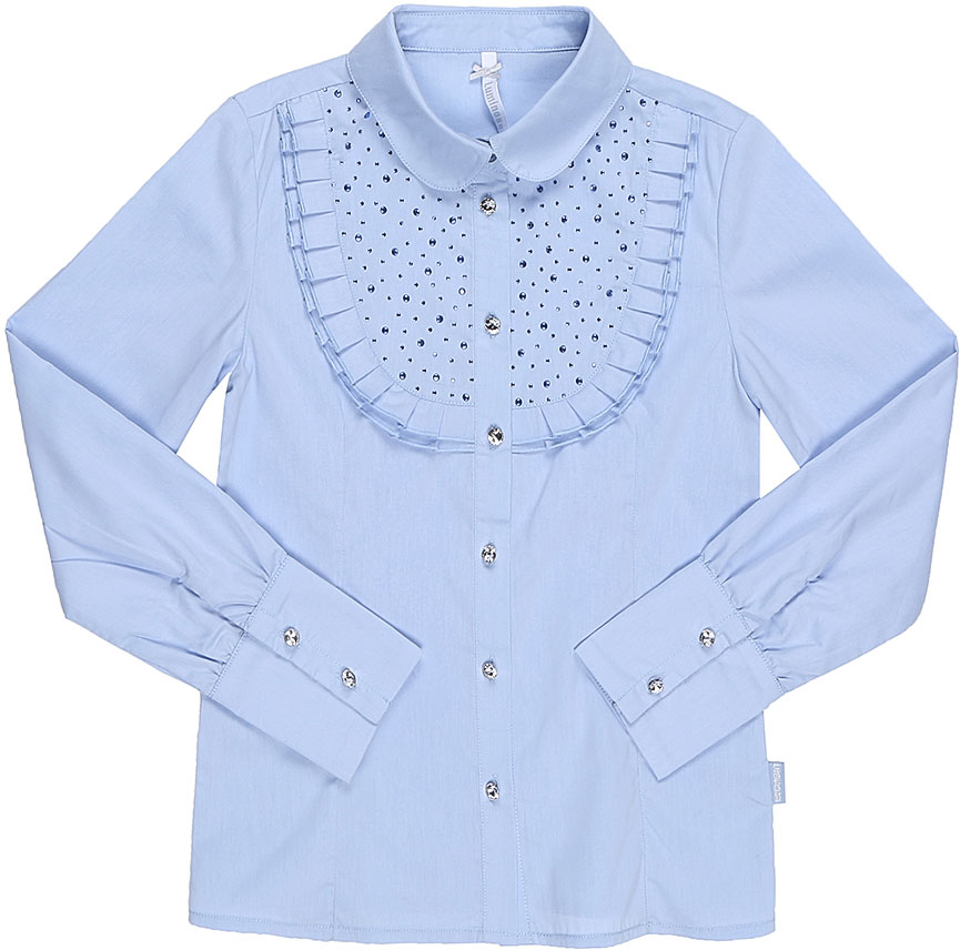 Блузка для девочки Luminoso, цвет: голубой. 728245. Размер 158728245Классическая детская блузка Luminoso выполнена из хлопка и полиэстера с добавлением эластана. Модель застегивается на пуговицы, имеет длинные рукава с манжетами на пуговицах и отложной воротник. Грудка дополнена рюшами и стразами.
