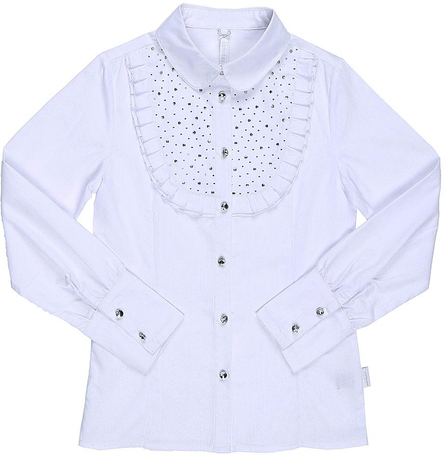 Блузка для девочки Luminoso, цвет: белый. 728246. Размер 140728246Классическая детская блузка Luminoso выполнена из хлопка и полиэстера с добавлением эластана. Модель застегивается на пуговицы, имеет длинные рукава с манжетами на пуговицах и отложной воротник. Грудка дополнена рюшами и стразами.