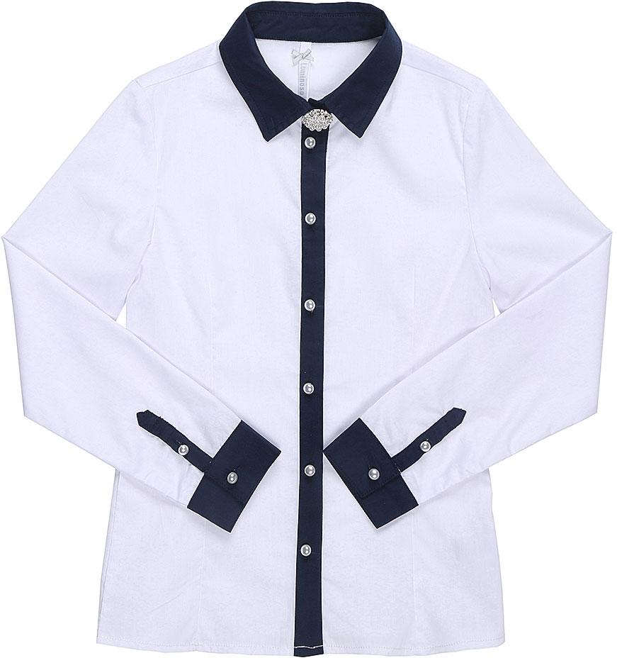 Блузка для девочки Luminoso, цвет: белый, темно-синий. 728247. Размер 164728247Классическая детская блузка Luminoso выполнена из хлопка и полиэстера с добавлением эластана. Модель застегивается на пуговицы в виде жемчужин, имеет длинные рукава с манжетами на пуговицах и отложной воротник. Блузка дополнена брошью.