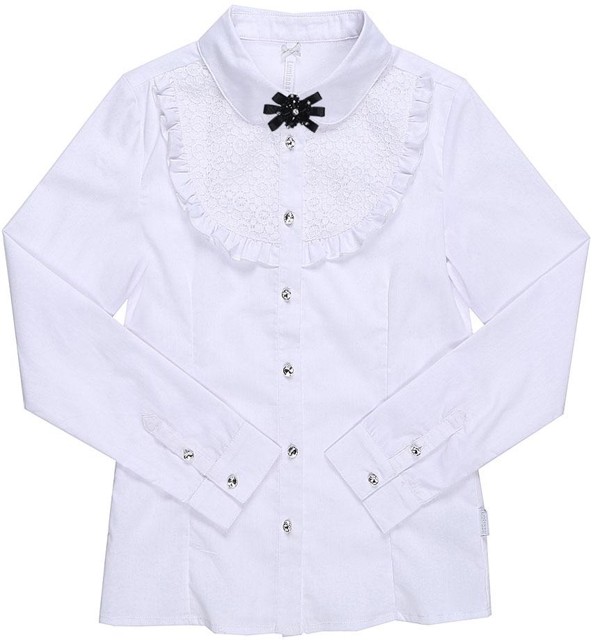Блузка для девочки Luminoso, цвет: белый. 728249. Размер 152728249Классическая детская блузка Luminoso выполнена из хлопка и полиэстера с добавлением эластана. Модель застегивается на пуговицы, имеет длинные рукава с манжетами на пуговицах и отложной воротник, дополненный брошкой. Грудка декорирована рюшами и кружевом.