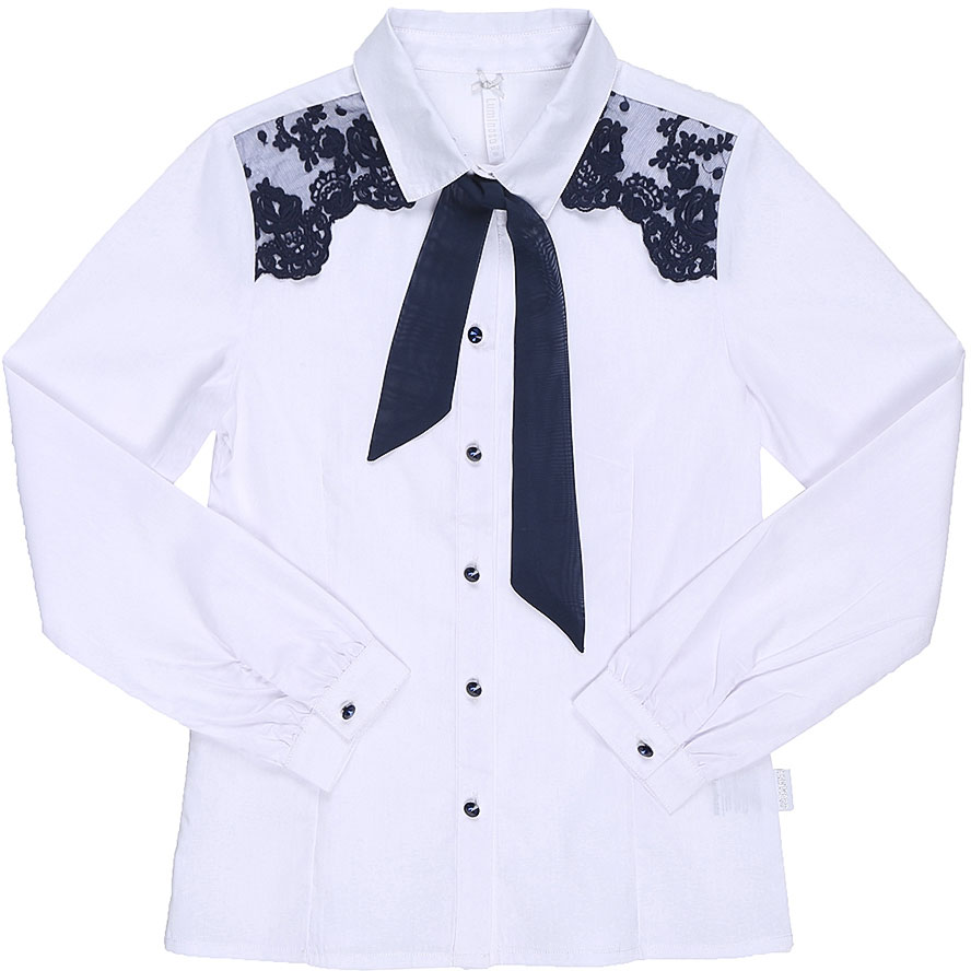 Блузка для девочки Luminoso, цвет: белый, темно-синий. 728251. Размер 158728251Классическая детская блузка Luminoso выполнена из хлопка и полиэстера с добавлением эластана. Модель застегивается на пуговицы, имеет длинные рукава с манжетами на пуговицах и отложной воротник с бантом контрастного цвета. Блузка дополнена кружевом.