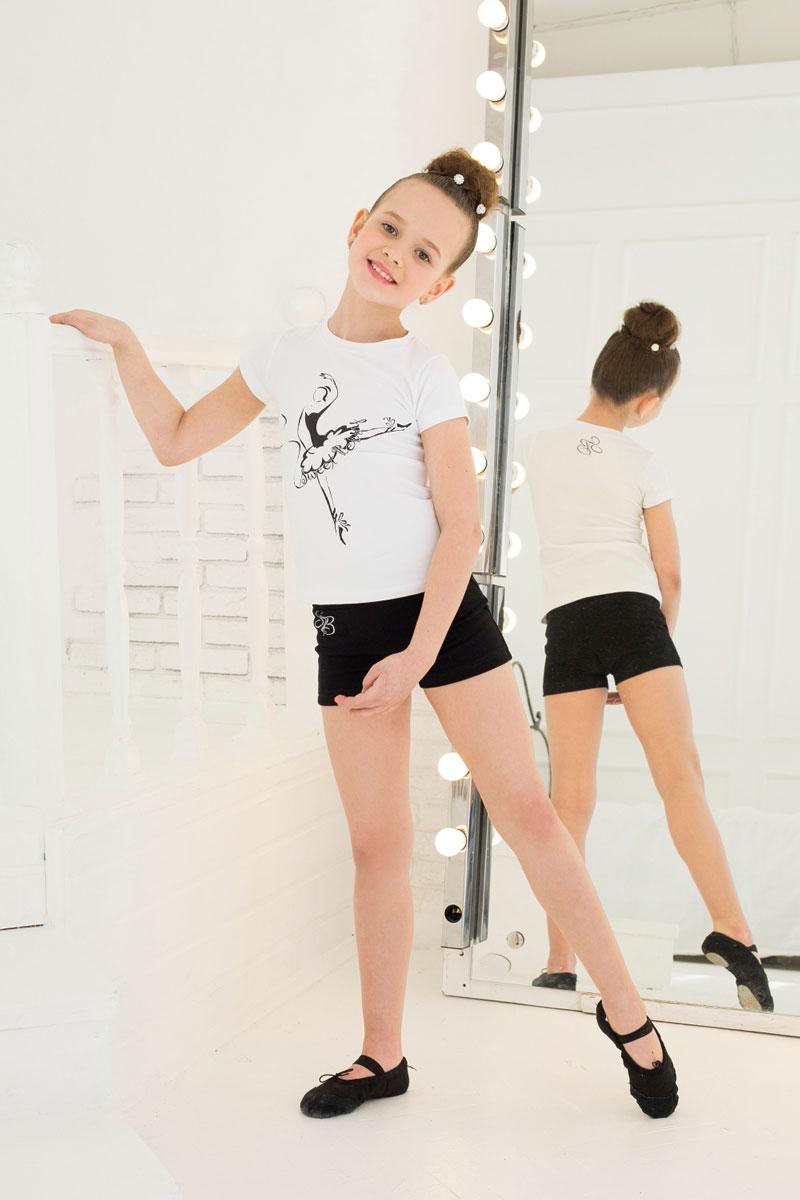 Футболка для девочки Luminoso, цвет: белый. 734511. Размер 152734511Футболка для девочки Luminoso выполнена из хлопка с добавлением эластана. Модель имеет короткие рукава и круглый вырез горловины. Футболка дополнена изображением балерины и отделана стразами.