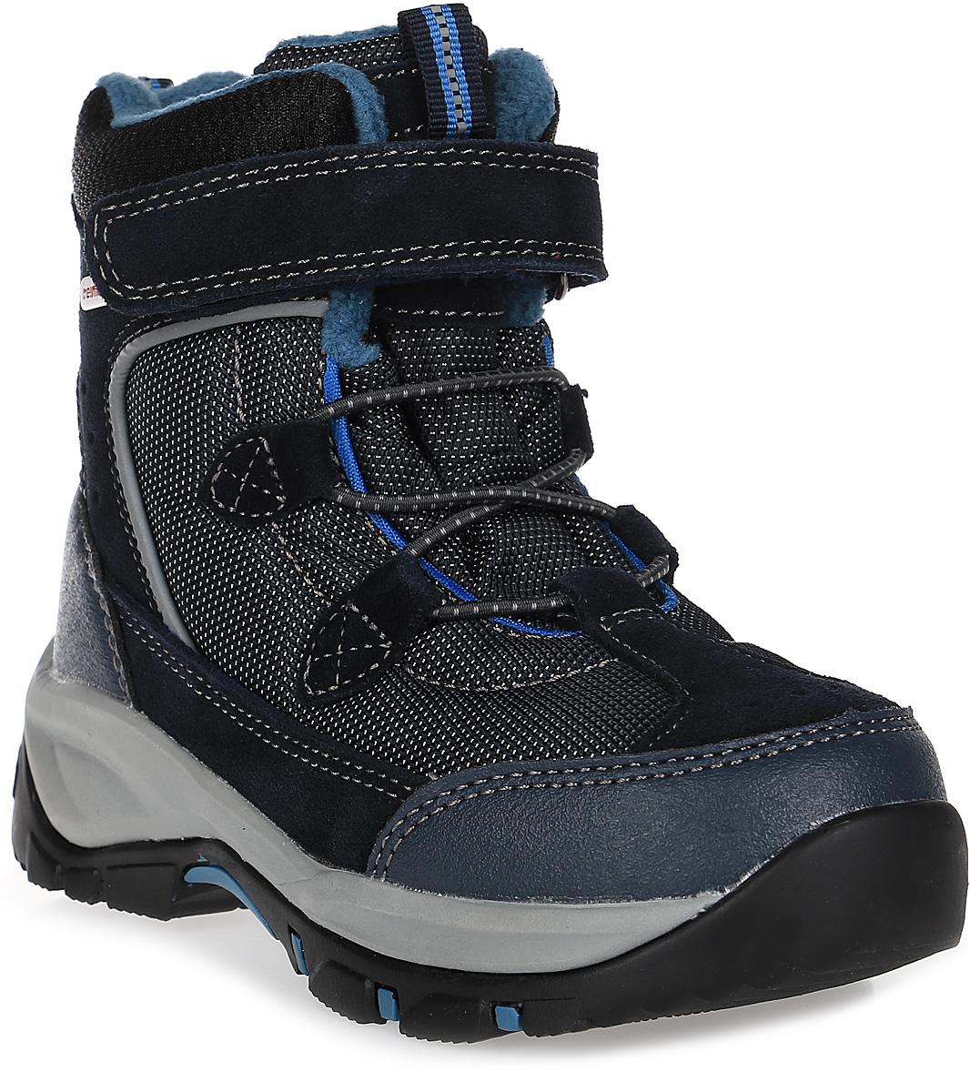 Ботинки детские Reima Denny, цвет: темно-синий. 5693236980. Размер 305693236980Невероятно прочные ботинки Reimatec очень легко надевать и регулировать благодаря эластичным шнуркам и застежке на липучке. Водонепроницаемая конструкция и подкладка с запаянными швами защищают ноги от холода и влаги. Верх этих ботинок изготовлен из текстиля и телячьей замши. Ботинки подшиты подкладкой из теплого и мягкого искусственного меха, который надежно защищает от холода. Гибкая и легкая подошва Reima из ЭВА-резины обеспечивает прочное сцепление с различными поверхностями, а благодаря теплым съемным войлочным стелькам с рисунком Happy Fit, легко подобрать правильный размер или измерить растущую ножку ребенка.