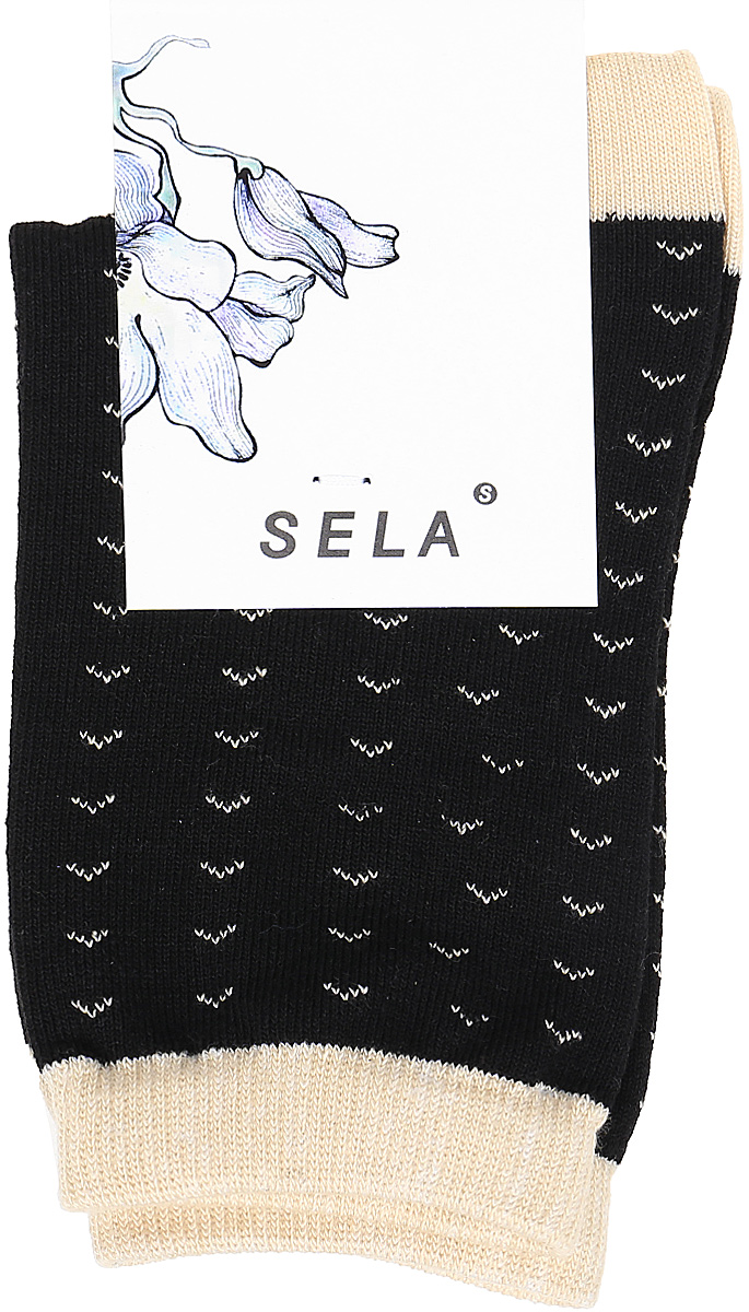 Носки женские Sela, цвет: черный. SOb-154/053-7331. Размер 23/25SOb-154/053-7331Удобные женские носки Sela изготовлены из высококачественного приятного на ощупь материала. Благодаря содержанию мягкого хлопка в составе, кожа сможет дышать, а эластан позволяет носкам легко тянуться, что делает их комфортными в носке. Эластичная резинка плотно облегает ногу, не сдавливая ее, и обеспечивает комфорт и удобство. Уважаемые клиенты! Размер, доступный для заказа, является длиной стопы.
