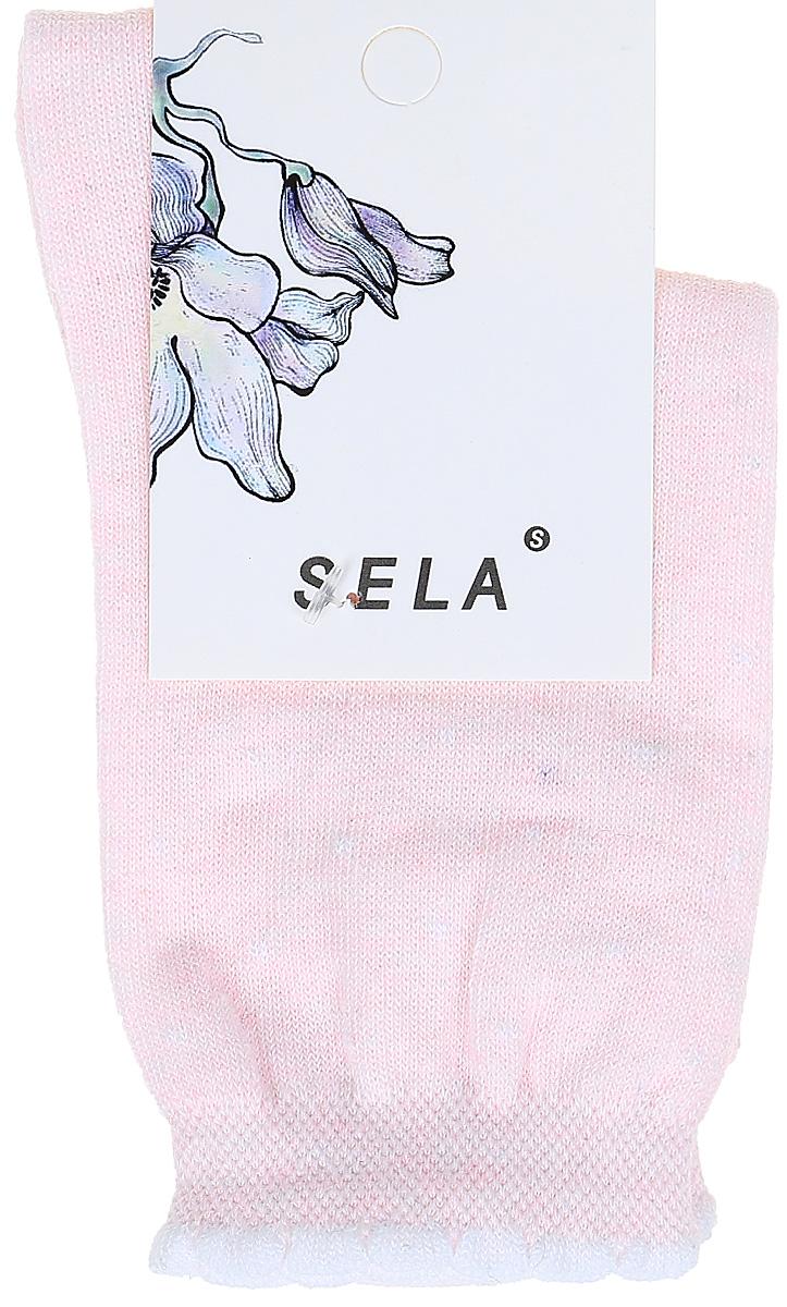 Носки женские Sela, цвет: розовый. SOb-154/055-7331. Размер 21/23SOb-154/055-7331Удобные женские носки Sela изготовлены из высококачественного приятного на ощупь материала в горошек. Благодаря содержанию мягкого хлопка в составе, кожа сможет дышать, а эластан позволяет носкам легко тянуться, что делает их комфортными в носке. Фигурная эластичная резинка с контрастной полоской по краю плотно облегает ногу, не сдавливая ее, и обеспечивает комфорт и удобство. Уважаемые клиенты! Размер, доступный для заказа, является длиной стопы.