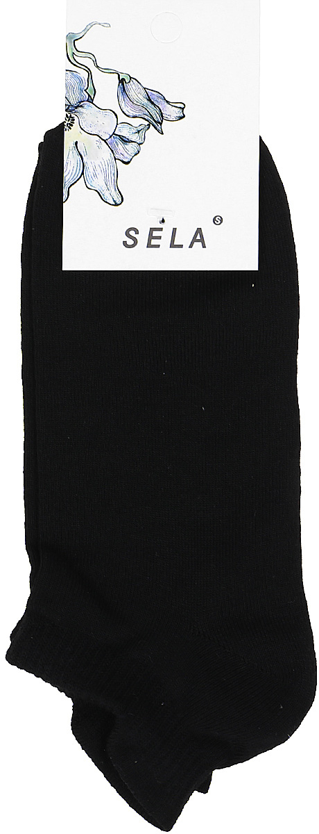 Носки женские Sela, цвет: черный. SOb-154/058-7371. Размер 21/23SOb-154/058-7371Укороченные женские носки Sela изготовлены из высококачественного приятного на ощупь материала. Благодаря содержанию мягкого хлопка в составе, кожа сможет дышать, а эластан позволяет носкам легко тянуться, что делает их комфортными в носке. Мягкая эластичная резинка плотно облегает ногу, не сдавливая ее, и обеспечивает комфорт и удобство. Уважаемые клиенты! Размер, доступный для заказа, является длиной стопы.