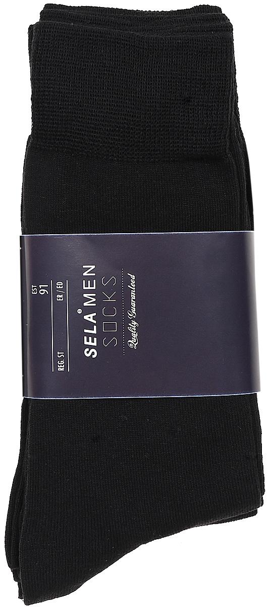Носки мужские Sela, цвет: черный, 4 пары. SOb-254/025-7371-4set. Размер 23/25SOb-254/025-7371-4setКомплект Sela состоит из 4 пар классических мужских носков, изготовленных из высококачественного приятного на ощупь материала. Благодаря содержанию мягкого хлопка в составе, кожа сможет дышать, а эластан позволяет носкам легко тянуться, что делает их комфортными в носке. Широкая эластичная резинка плотно облегает ногу, не сдавливая ее, и обеспечивает комфорт и удобство. Уважаемые клиенты! Размер, доступный для заказа, является длиной стопы.
