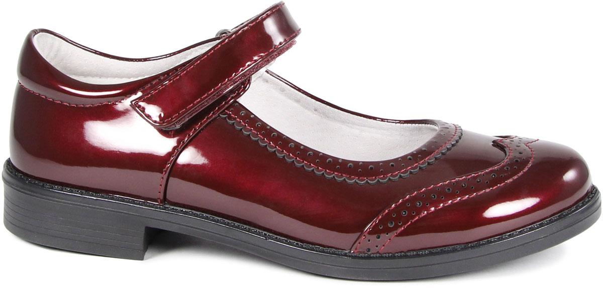 Туфли для девочки San Marko, цвет: бордовый. 63072. Размер 3353072/63072Очаровательные туфли от San Marko придутся по душе юной моднице!Модель на небольшом каблучке выполнена из искусственной лакированной кожи. Ремешок на застежке-липучке гарантирует надежную фиксацию обуви на ноге. Подкладка и стелька из натуральной кожи позволяют ногам дышать.Стильные туфли займут достойное место в гардеробе вашей девочки.