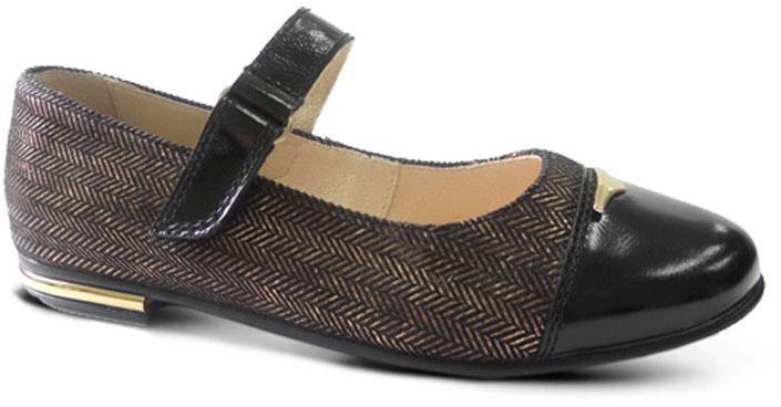 Туфли для девочки San Marko, цвет: черный, золотистый. 0535052. Размер 270535052Восхитительные туфли от San Marko придутся по душе юной моднице!Модель выполнена из искусственной кожи и текстиля. Ремешок на застежке-липучке надежно фиксирует обувь. Подкладка и стелька из натуральной кожи позволяют ногам дышать. Каблук оформлен вставкой, стилизованной под металл.Стильные туфли займут достойное место в гардеробе вашей девочки.
