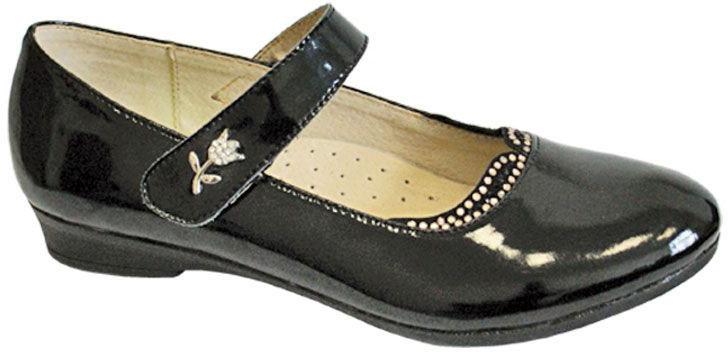 Туфли для девочки San Marko, цвет: черный. 063250. Размер 32063250Восхитительные туфли от San Marko придутся по душе юной моднице!Модель выполнена из натуральной кожи и оформлена на ремешке декоративным элементом в виде цветка. Ремешок на застежке-липучке надежно фиксирует обувь. Подкладка и стелька из натуральной кожи позволяют ногам дышать. Стелька дополнена супинатором, который предотвращает развитие плоскостопия.Стильные туфли займут достойное место в гардеробе вашей девочки.