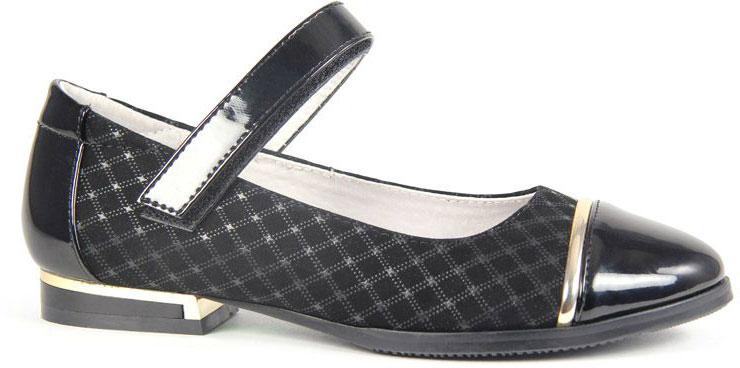 Туфли для девочки San Marko, цвет: черный. 063802. Размер 37063802Эффектные туфли от San Marko придутся по душе юной моднице!Модель выполнена из искусственной кожи и оформлена на мысе и на каблуке вставками, стилизованными под металл. Ремешок на застежке-липучке надежно фиксирует обувь. Подкладка и стелька из натуральной кожи позволяют ногам дышать.Стильные туфли займут достойное место в гардеробе вашей девочки.