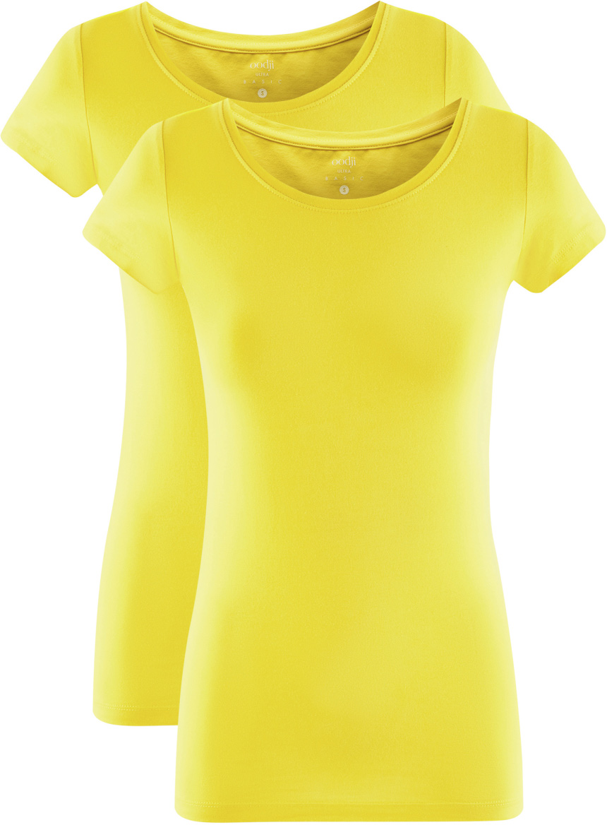 Футболка женская oodji Ultra, цвет: лимонный, 2 шт. 14701005T2/46147/5100N. Размер M (46)14701005T2/46147/5100NЖенская футболка oodji Ultra выполнена из эластичного хлопка. Модель с круглым вырезом горловины и стандартными короткими рукавами.Комплект из двух футболок - практичное решение для тех, кто ценит удобство. Вы всегда будете уверены в том, что у вас есть в запасе чистая футболка. Такая футболка станет основой для создания стильного спортивного комплекта. В ней можно заниматься спортом, гулять с домашним питомцем. Ее удобно носить в качестве домашней одежды. Футболки хорошо сочетаются с трикотажными спортивными брюками, шортами, бриджами, юбками.Прекрасная модель для самых разных случаев!