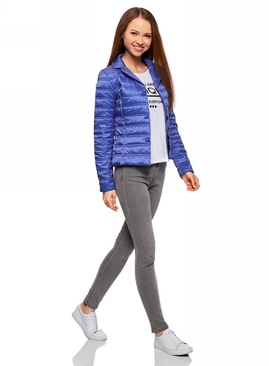 Куртка женская oodji Ultra, цвет: синий. 10204050/45797/7500N. Размер 44 (50-170)10204050/45797/7500NЖенская куртка изготовлена из качественного полиамида. Модель с длинными рукавами и отложным воротником застегивается на кнопки. По бокам расположены врезные карманы на застежках-молниях.