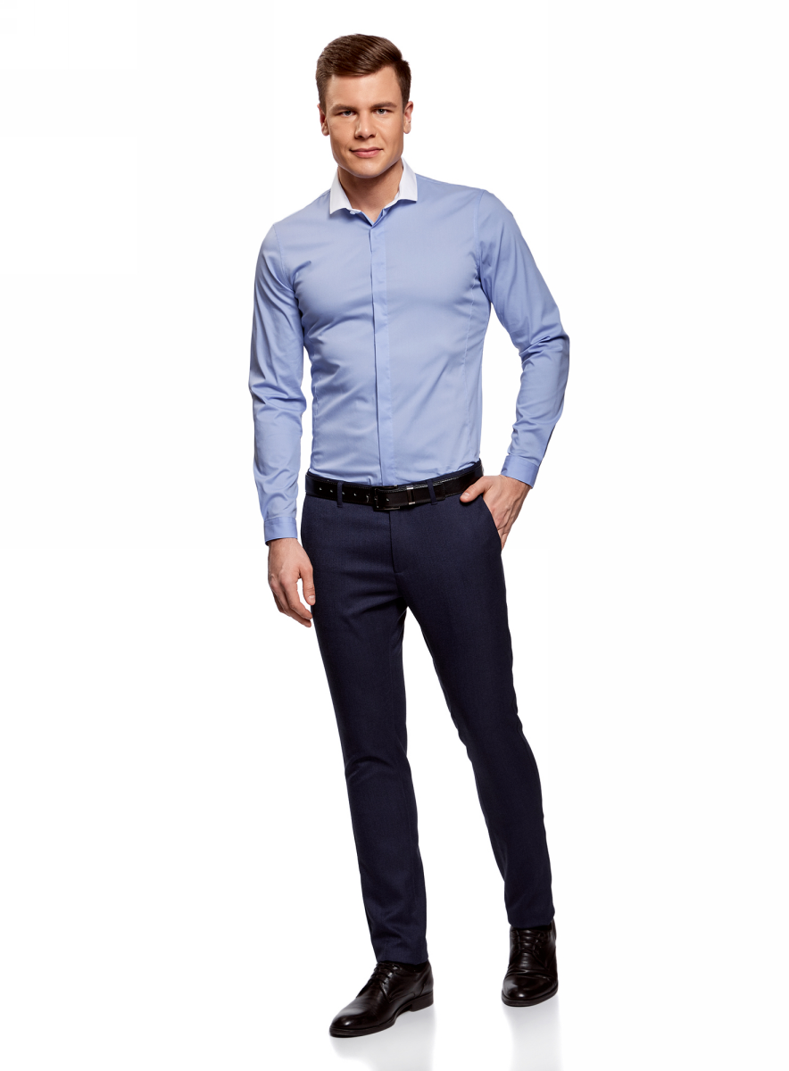 Рубашка мужская oodji Lab, цвет: голубой, белый. 3L140113M/34146N/7010B. Размер 37 (42-182)3L140113M/34146N/7010BМужская рубашка oodji с длинными рукавами изготовлена из качественной смесовой ткани. Рубашка застегивается на пуговицы в планке, манжеты рукавов дополнены застежками-пуговицами.