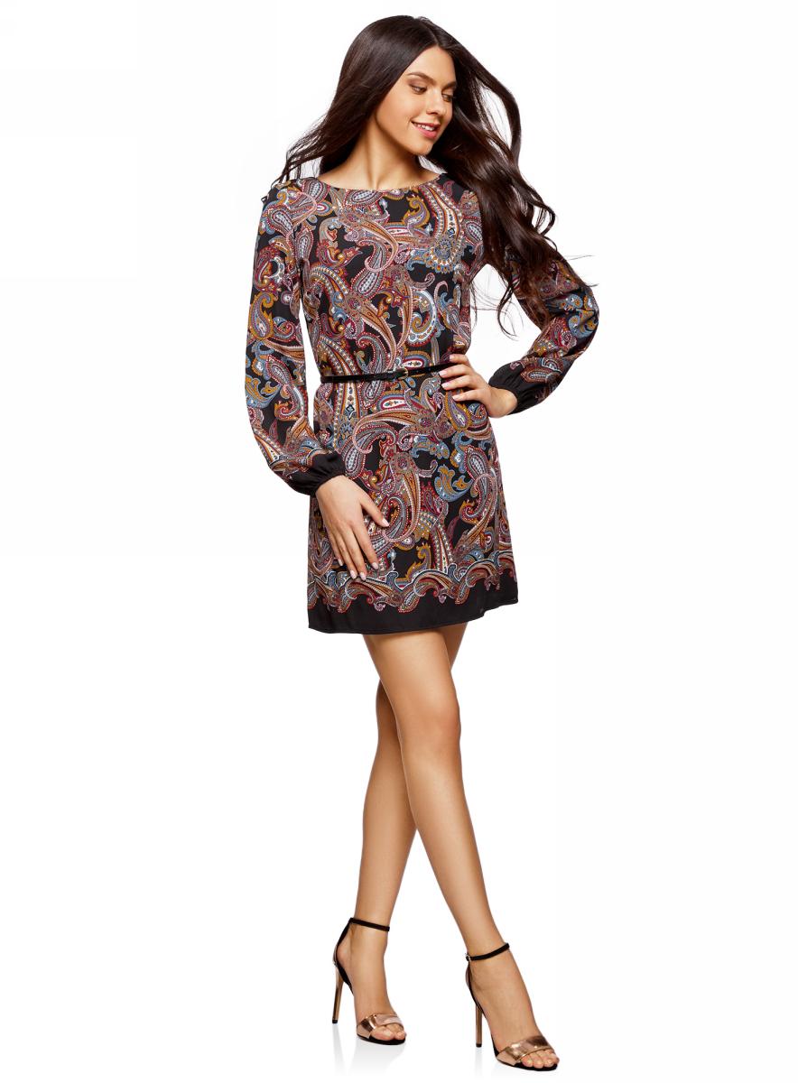Платье oodji Ultra, цвет: черный, бежевый. 11900150-10M/32823/2933E. Размер 40 (46-170)11900150-10M/32823/2933EСтильное платье oodji изготовлено из качественного материала. Модель с вырезом-лодочкой и длинными рукавами дополнена тонким ремешком. Низы рукавов собраны на резинки.