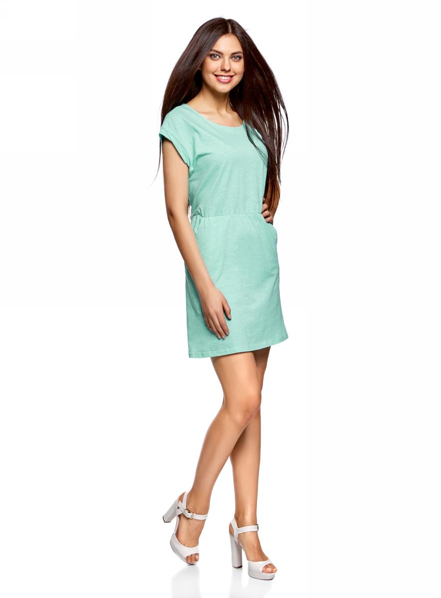 Платье oodji Ultra, цвет: бирюзовый. 14008019B/45518/7300N. Размер L (48)14008019B/45518/7300NТрикотажное платье с карманами oodji изготовлено из качественного натурального хлопка. Модель выполнена с круглым вырезом и короткими рукавами. Платье-мини на талии собрано на внутреннюю резинку.