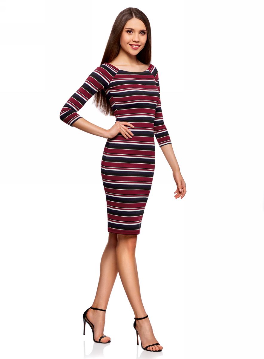 Платье oodji Ultra, цвет: бордовый, черный. 14017001-1B/37809/4929S. Размер XS (42)14017001-1B/37809/4929SСтильное обтягивающее платье oodji Ultra, выгодно подчеркивающее достоинства фигуры, изготовлено из качественного эластичного материала. Модель миди-длины выполнена с вырезом-лодочкой и рукавами 3/4.