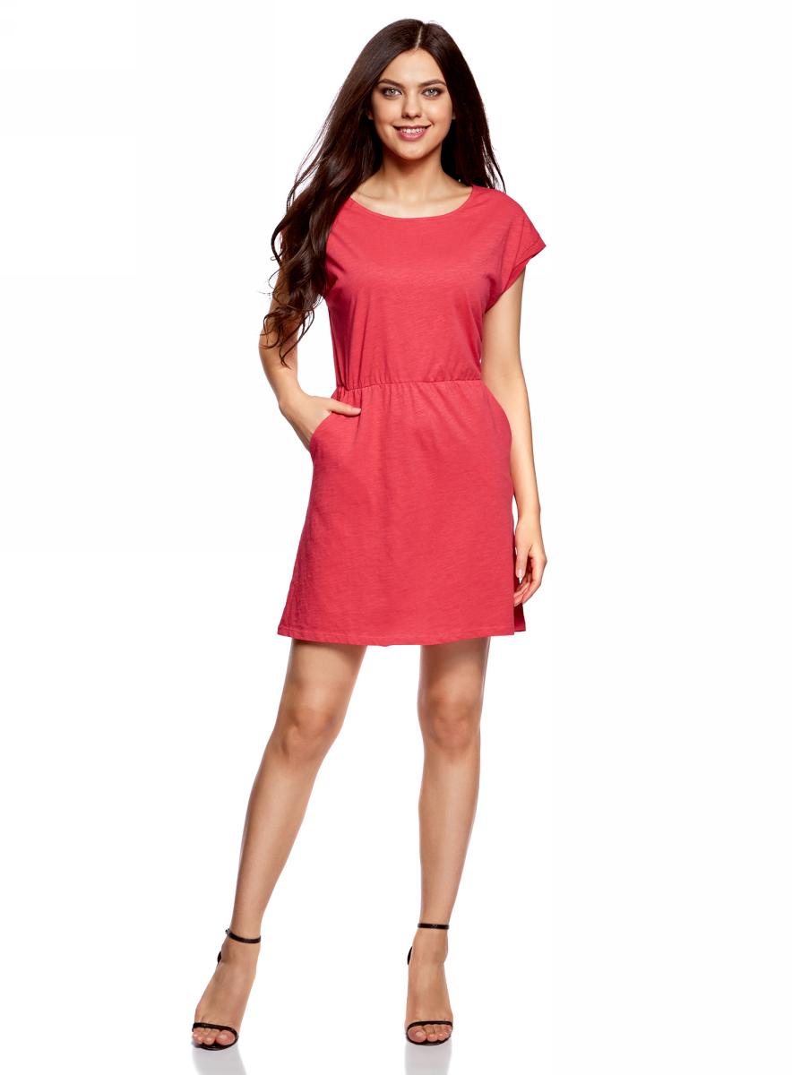 Платье oodji Ultra, цвет: ярко-розовый. 14008019B/45518/4D00N. Размер XXS (40)14008019B/45518/4D00NТрикотажное платье с карманами oodji изготовлено из качественного натурального хлопка. Модель выполнена с круглым вырезом и короткими рукавами. Платье-мини на талии собрано на внутреннюю резинку.