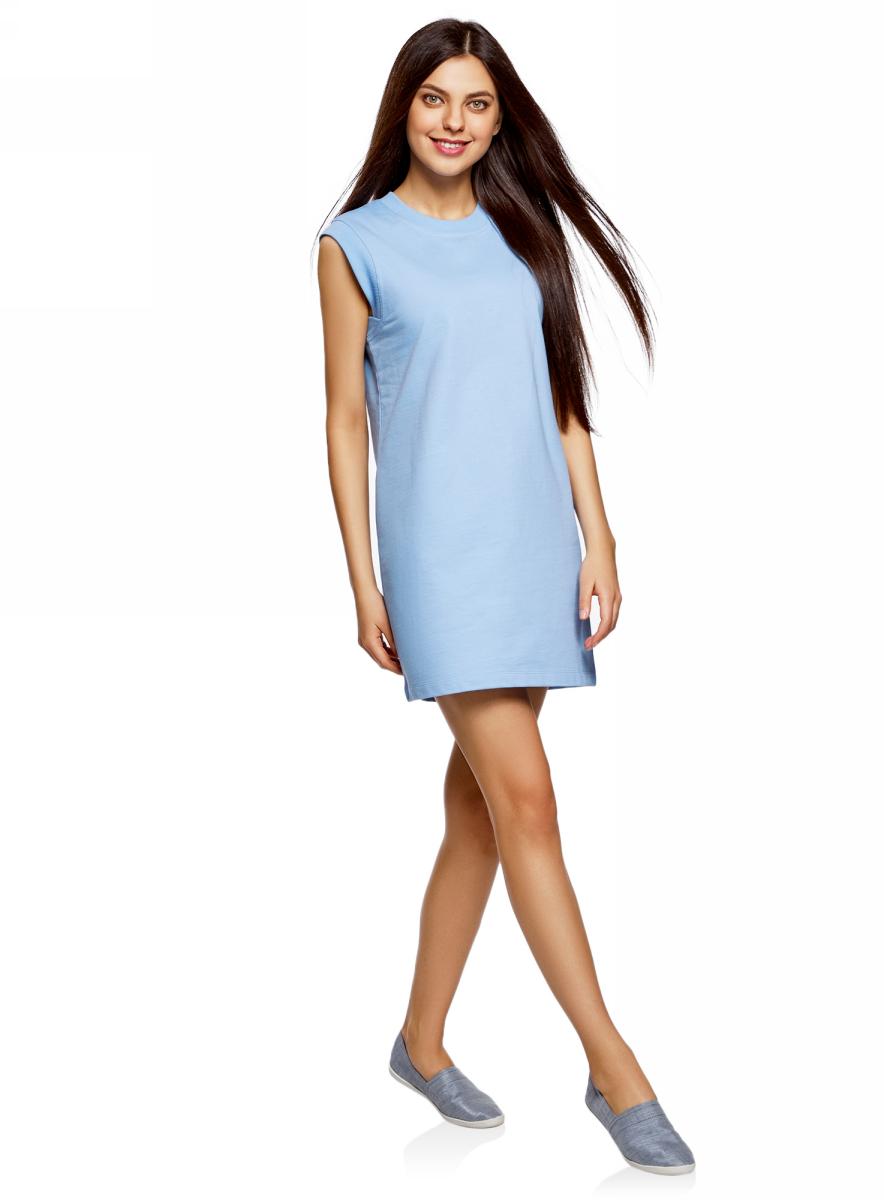 Платье oodji Ultra, цвет: голубой. 14008015-3B/47481/7001N. Размер XL (50)14008015-3B/47481/7001NКороткое платье oodji изготовлено из качественного плотного материала. Удобная модель выполнена с круглым вырезом и без рукавов.