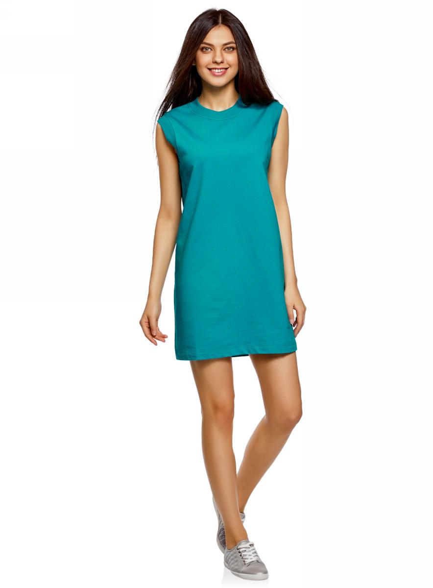 Платье oodji Ultra, цвет: изумрудный. 14008015-3B/47481/6D00N. Размер S (44)14008015-3B/47481/6D00NКороткое платье oodji изготовлено из качественного плотного материала. Удобная модель выполнена с круглым вырезом и без рукавов.