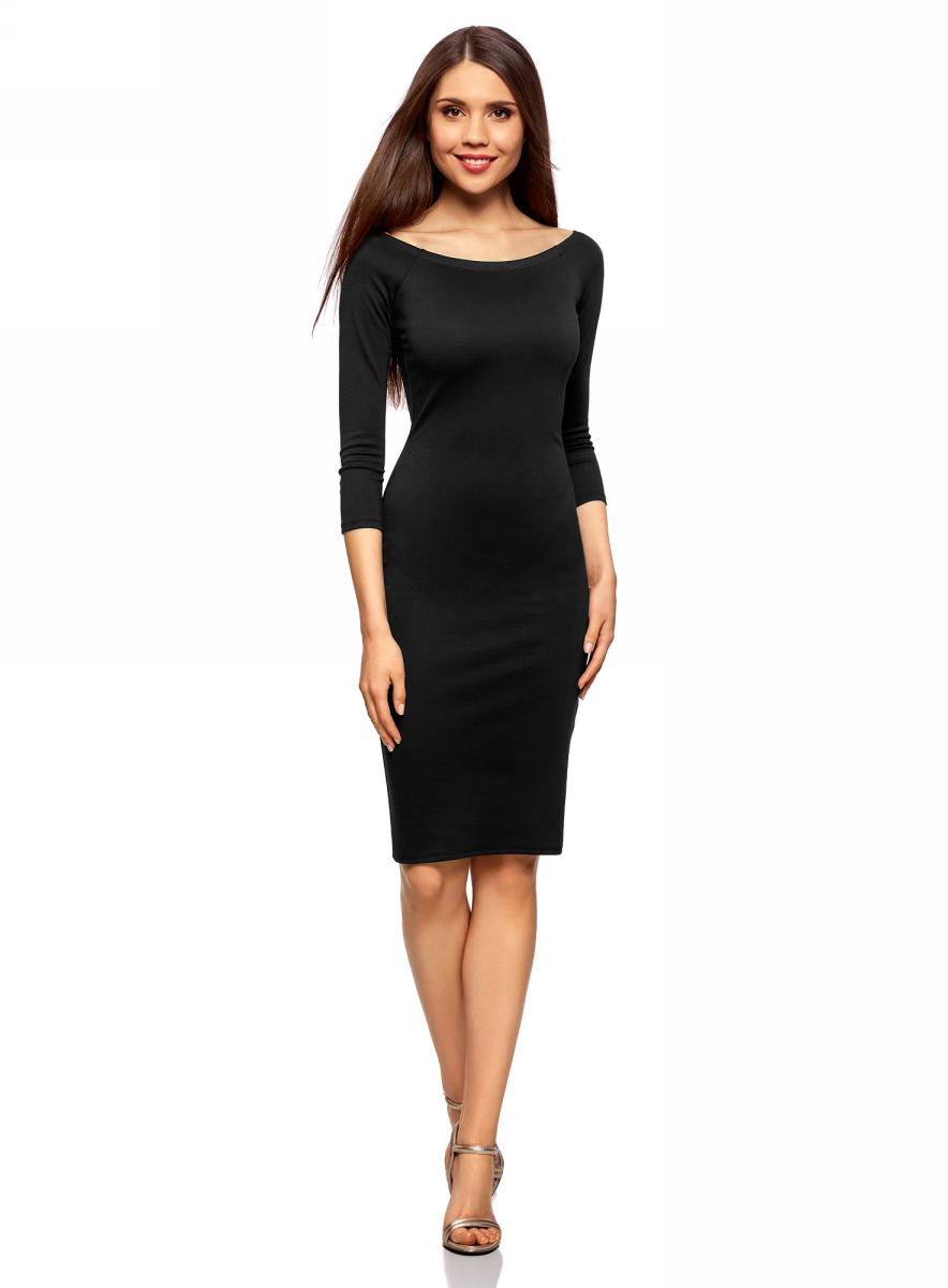 Платье oodji Ultra, цвет: черный. 14017001-1B/37809/2900N. Размер XL (50)14017001-1B/37809/2900NСтильное обтягивающее платье oodji Ultra, выгодно подчеркивающее достоинства фигуры, изготовлено из качественного эластичного материала. Модель миди-длины выполнена с вырезом-лодочкой и рукавами 3/4.
