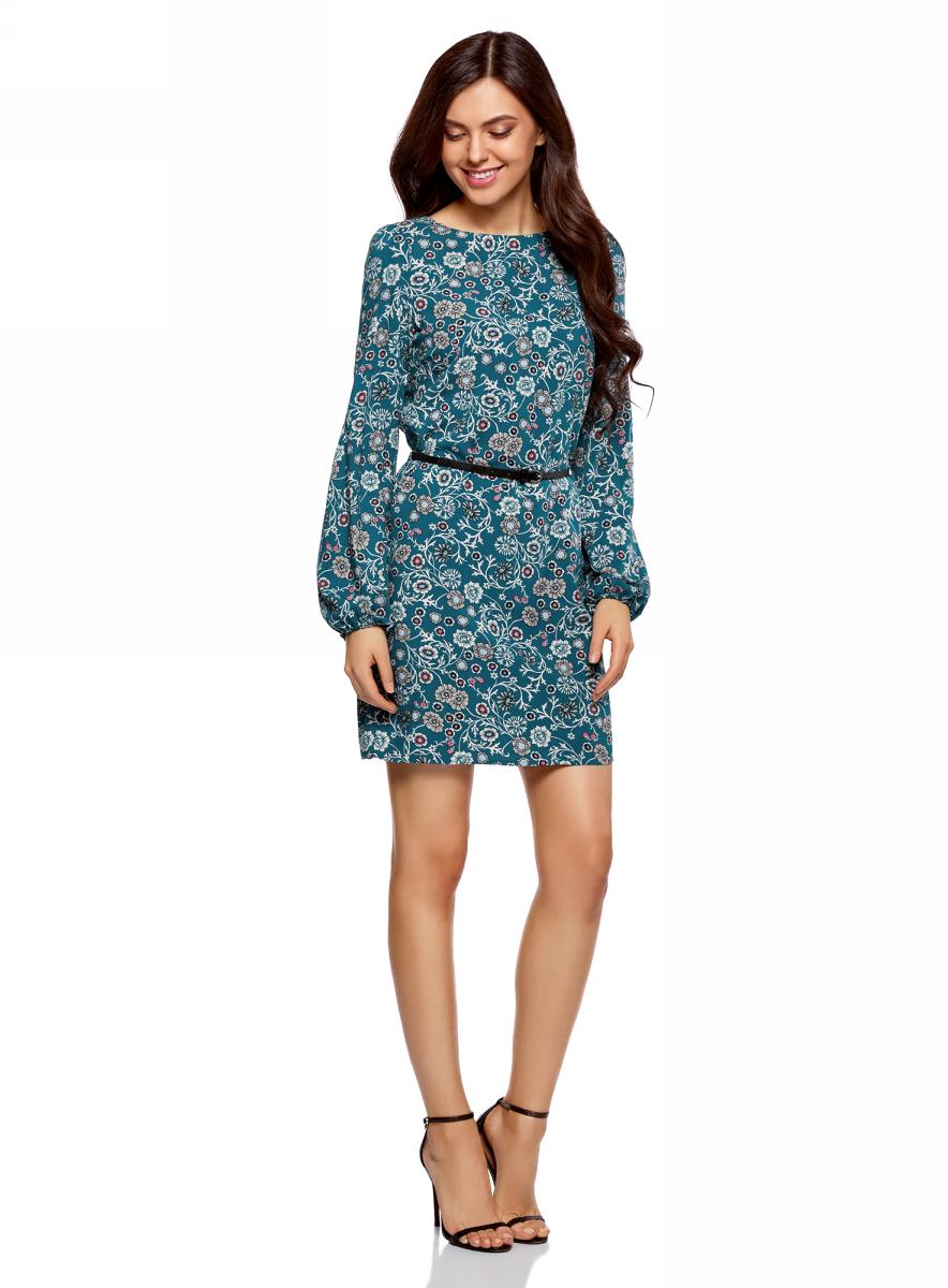 Платье oodji Ultra, цвет: морская волна, бежевый. 11900150-8B/42540/6C33F. Размер 36 (42-170)11900150-8B/42540/6C33FСтильное короткое платье с длинным рукавом. Модель прямого силуэта с вырезом-лодочкой смотрится сдержанно и элегантно. Длинные прямые рукава собраны снизу на эластичную резинку. Линию талии подчеркивает узкий контрастный ремешок с изящной пряжкой. Легкая и шелковистая ткань из вискозы красиво струится и не стесняет движений. Платье длиной выше колена прекрасно смотрится на самых разных фигурах. Красивое базовое платье - прекрасный выбор для создания деловых и повседневных нарядов. В этом платье днем можно пойти на работу, а вечером отправиться на свидание или встречу с друзьями. Достаточно дополнить его яркими аксессуарами, и у вас получится праздничный наряд! Базовое платье красиво смотрится в сочетании с изящными туфлями на высоком каблуке и элегантным клатчем. А если похолодает, сверху можно накинуть пальто или тренч. В этом платье вы будете чувствовать себя привлекательной в любой ситуации!