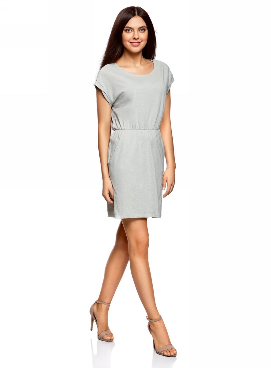 Платье oodji Ultra, цвет: серо-зеленый. 14008019B/45518/6000N. Размер XS (42)14008019B/45518/6000NТрикотажное платье с карманами oodji изготовлено из качественного натурального хлопка. Модель выполнена с круглым вырезом и короткими рукавами. Платье-мини на талии собрано на внутреннюю резинку.