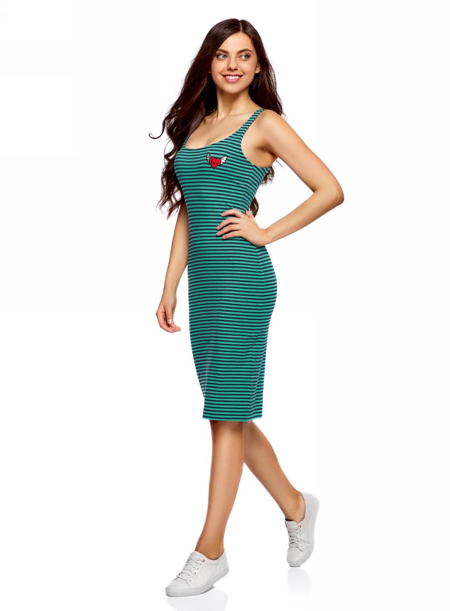 Платье oodji Ultra, цвет: темно-синий, изумрудный. 14015007-7/47420/796DS. Размер XS (42)14015007-7/47420/796DSЛегкое обтягивающее платье oodji Ultra, выгодно подчеркивающее достоинства фигуры, выполнено из качественного эластичного хлопка. Модель миди-длины с круглым вырезом горловины и узкими бретелями дополнена разрезом на юбке с задней стороны. На груди платье дополнено оригинальной аппликацией.