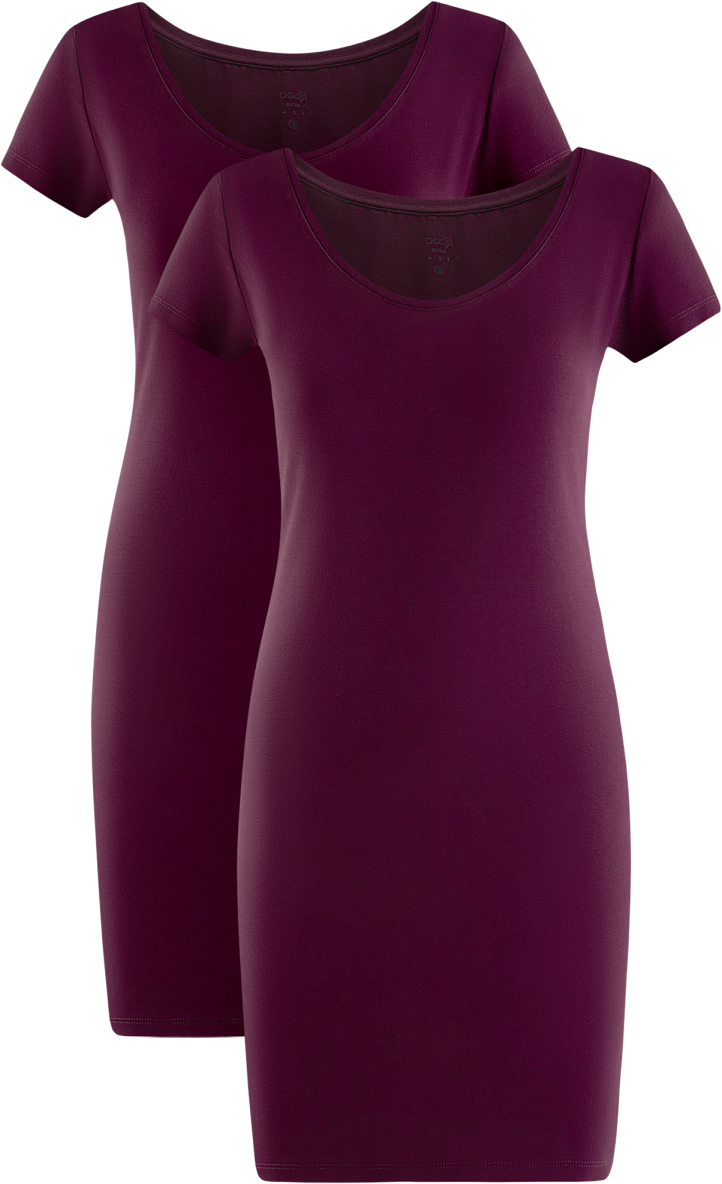 Платье oodji Ultra, цвет: фиолетовый, 2 шт. 14001182T2/47420/8300N. Размер L (48)14001182T2/47420/8300NТрикотажное платье oodji изготовлено из качественного эластичного хлопка. Облегающая модель выполнена с круглым вырезом горловины и короткими рукавами. В комплекте 2 платья.