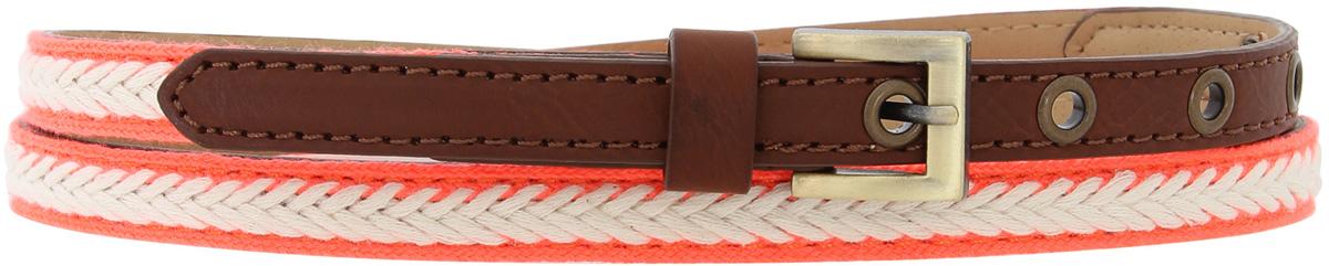 Ремень женский oodji, цвет: белый, розовый, коричневый. 45100010/18072/1243B. Размер 11045100010/18072/1243BСтильный женский ремень oodji изготовлен из качественной искусственной кожи и текстиля. Ремень застегивается на металлическую пряжку.