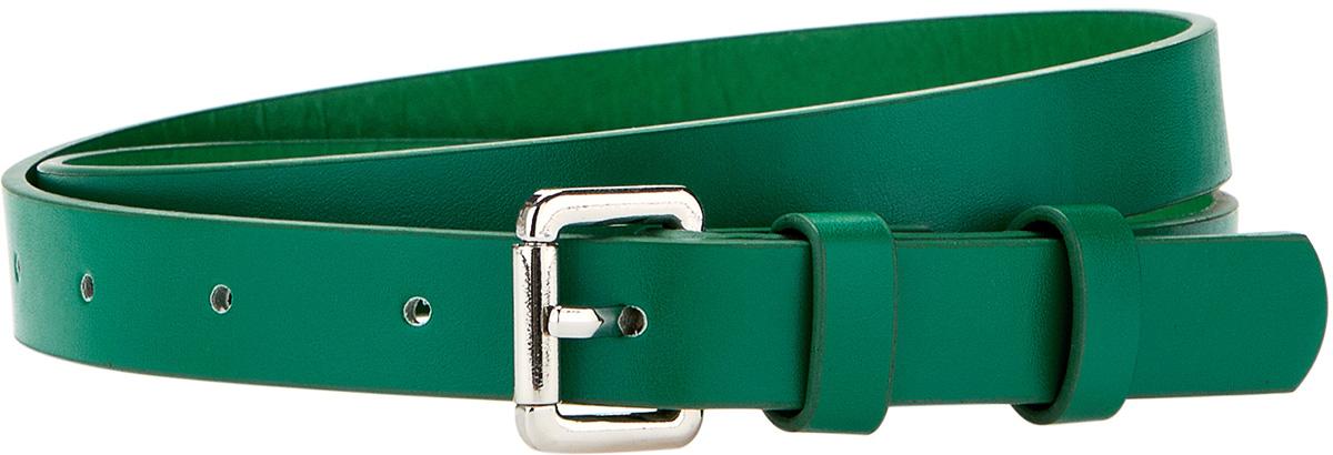 Ремень женский oodji, цвет: зеленый. 45100879-1B/18466/6D00N. Размер 11045100879-1B/18466/6D00NРемень с открытой закругленной пряжкой и одной шлевкой. Длину можно регулировать благодаря шести аккуратным отверстиям. Этот фактурный ремень можно надеть с брюками, платьем или юбкой. Кроме того, он прекрасно подходит к джинсам с низкой посадкой. Узкий ремень пригодится вам в офисных и уличных нарядах. Требование сочетать в комплекте обувь и ремень одной расцветки уже не актуально. Вы можете смело экспериментировать, создавая запоминающиеся луки.