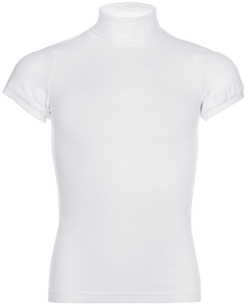 Водолазка для девочки LeadGen, цвет: белый. G970007914-172. Размер 140G970007914-172Водолазка для девочки LeadGen выполнена из эластичного хлопкового трикотажа. Модель с короткими рукавами и воротником-гольф.
