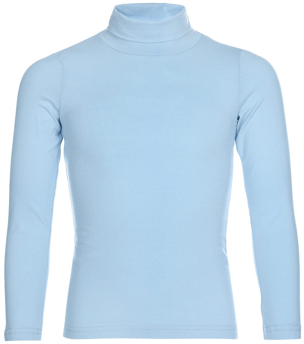 Водолазка для девочки LeadGen, цвет: голубой. G935007401-172. Размер 140G935007401-172Водолазка для девочки LeadGen выполнена из эластичного хлопкового трикотажа. Модель с длинными рукавами и воротником-гольф.