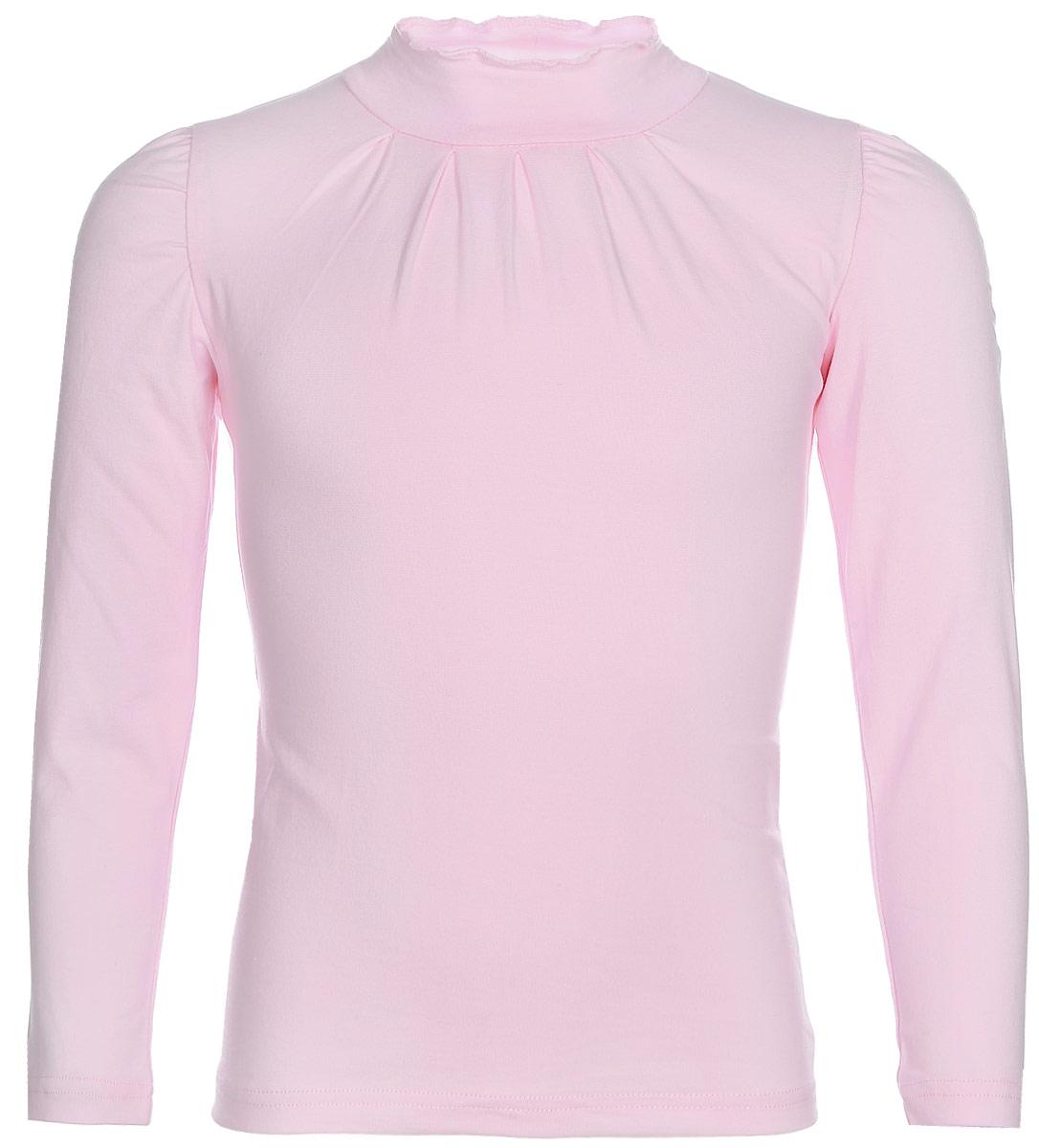 Водолазка для девочки LeadGen, цвет: розовый. G935007016-172. Размер 122G935007016-172Водолазка для девочки LeadGen выполнена из эластичного хлопкового трикотажа. Модель с длинными рукавами и невысоким воротником-стойкой. От линии горловины заложены небольшие складочки.