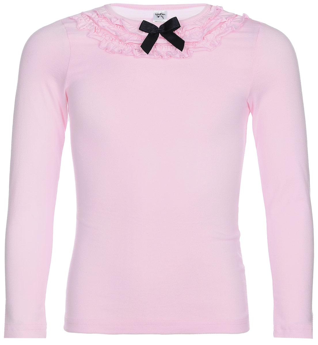Джемпер для девочки LeadGen, цвет: розовый. G980008716-172. Размер 152G980008716-172Джемпер для девочки LeadGen выполнен из эластичного хлопкового трикотажа. Модель с длинными рукавами и круглым вырезом горловины. Вырез горловины декорирован рюшами и контрастным бантиком.