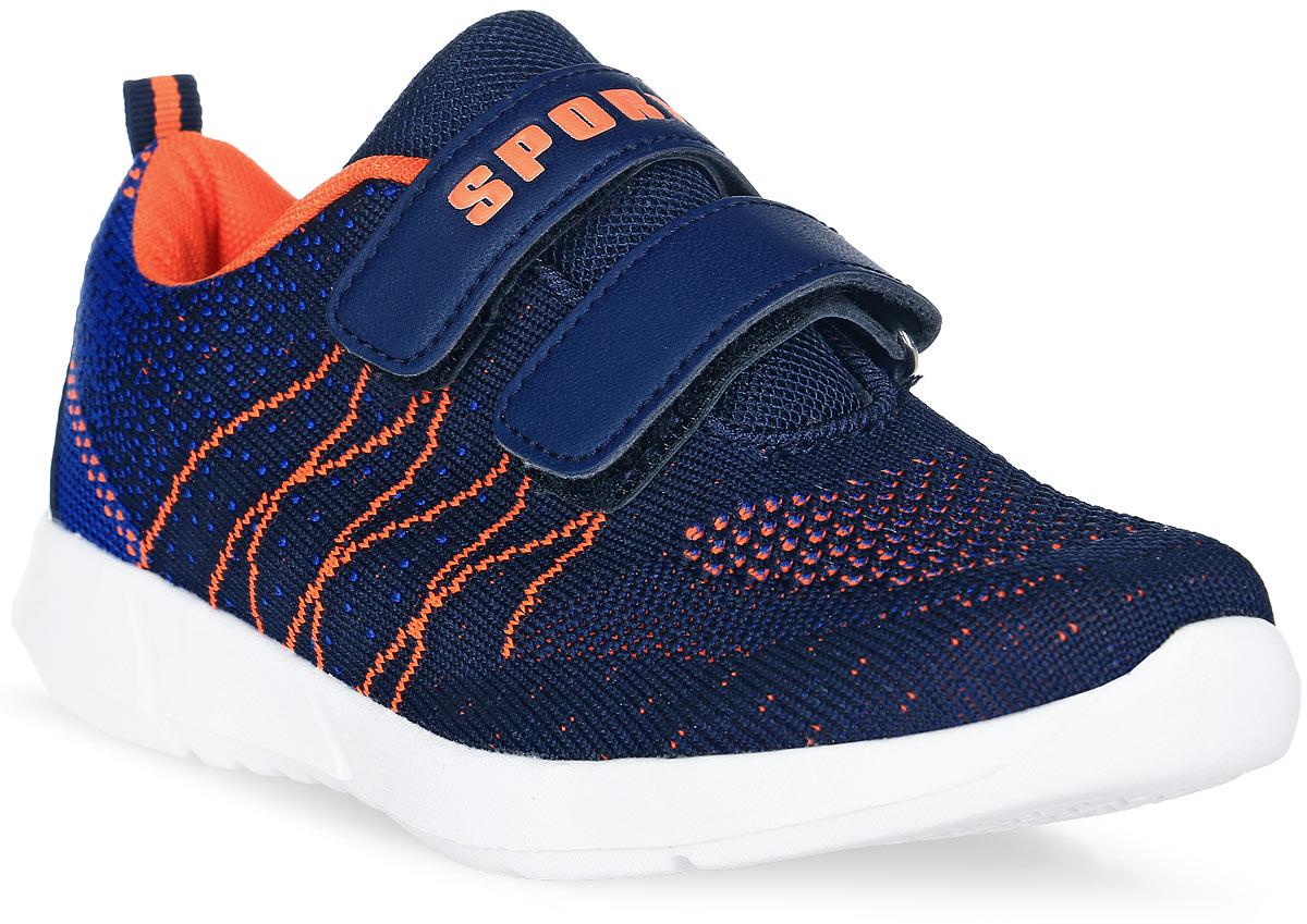 Кроссовки для мальчика Счастливый ребенок, цвет: синий, оранжевый. M7211-3. Размер 31M7211-3Стильные кроссовки для мальчика Счастливый ребенок выполнены из текстиля. Подошва белого цвета изготовлена из легкого, гибкого и прочного термопластичного материала. Она обеспечивает отличную амортизацию и смягчает удары от соприкосновения обуви с поверхностью, а небольшой рельеф создает надежное сцепление с землей или асфальтом. Внутренняя поверхность и стелька выполнены из натуральной кожи. Кроссовки застегиваются с помощью ремешков на липучки, благодаря которым можно регулировать объем обуви.