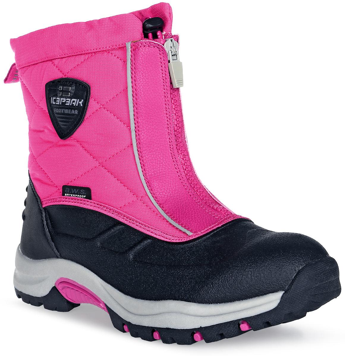 Ботинки для девочки Icepeak, цвет: розовый. 672213100IV. Размер 38 (37)672213100IVБотинки для девочек Icepeak, высокие мембранные ботинки WULSTAN. Мембрана A.W.S Waterproof, покрытие A.W.S. Water resistant, стелька A.W.S. Rest foam и новая анти-скользящая подошва. Всё это обеспечит вам максимальный комфорт, даже при длительных прогулках в самых экстремальных погодных условиях. Фиксация осуществляется при помощи застежки на молнии в области голеностопного сустава, а в самом верху затягивается с помощью шнурка со стоппером.