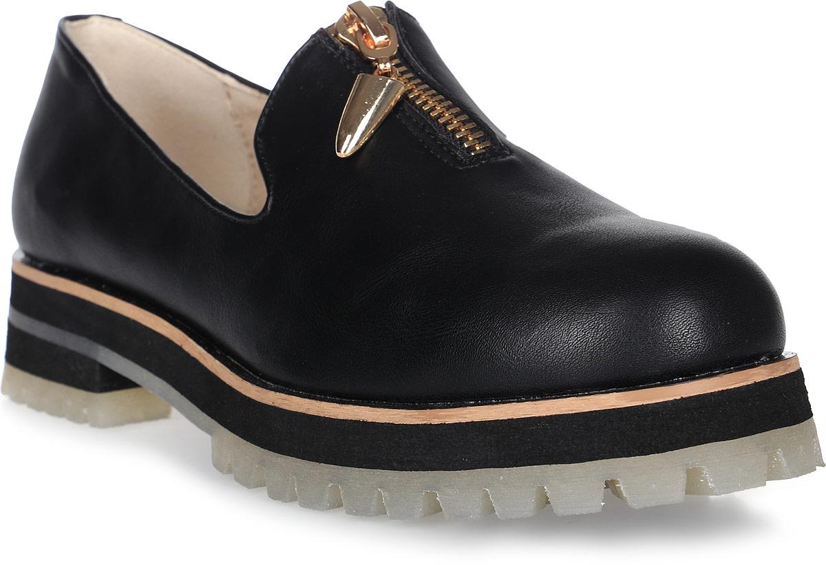 Туфли для девочки Keddo, цвет: черный. 578161/50-05VZ. Размер 35578161/50-05VZУдобные туфли от Keddo покорят вашу юную модницу с первого взгляда! Модель выполнена из искусственной кожи и дополнена контрастной линией вдоль ранта. Внутренняя поверхность и стелька из натуральной кожи не натирают. Изделие дополнено спереди застежкой-молнией. Подошва с рифлением обеспечивает идеальное сцепление с любыми поверхностями. Стильные туфли займут достойное место в гардеробе вашей девочки.