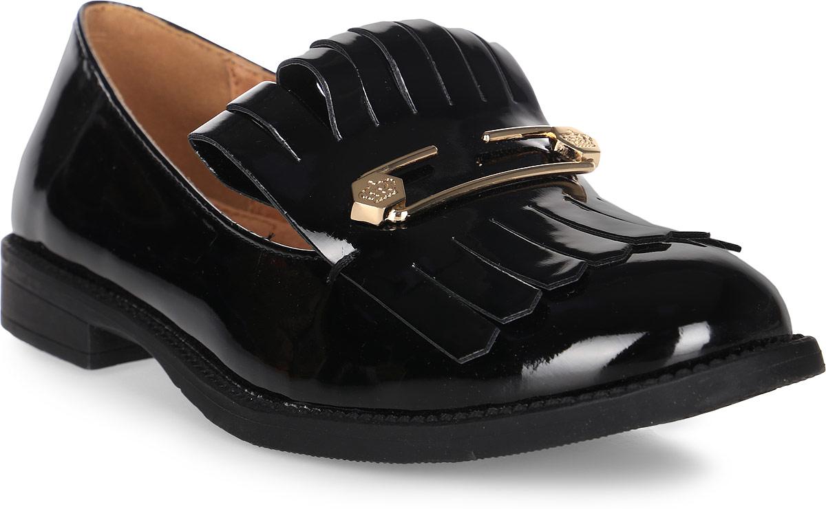 Туфли для девочки Keddo, цвет: черный. 578101/06-01. Размер 37578101/06-01Удобные туфли от Keddo покорят вашу юную модницу с первого взгляда! Модель выполнена из искусственной лакированной кожи и дополнена спереди декоративным элементом. Внутренняя поверхность и стелька из натуральной кожи не натирают. Подошва с рифлением обеспечивает идеальное сцепление с любыми поверхностями. Стильные туфли займут достойное место в гардеробе вашей девочки.