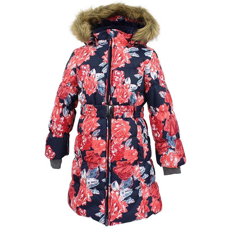 Пальто для девочки Huppa Yacaranda, цвет: темно-синий. 12030030-71586. Размер 14612030030-71586Стильное пальто для девочки Huppa идеально подойдет для ребенка в прохладное время года. Модель изготовлена из полиэстера.Пальто с капюшоном и небольшим воротником-стойкой застегивается на застежку-молнию с двумя бегунками и дополнительно имеет внутренний ветрозащитный клапан, а также защиту подбородка. Капюшон оформлен мехом. Низ рукавов дополнен эластичными манжетами, не стягивающими запястья. Спереди модель дополнена двумя втачными карманами. Пальто дополнено съемным эластичным поясом. Модель оформлена ярким принтом.